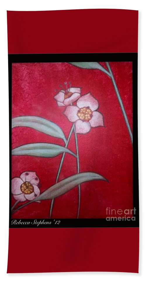 Rebecca Stephens Beach Towel featuring the painting White Lotus Bottom by Rebecca Stephens