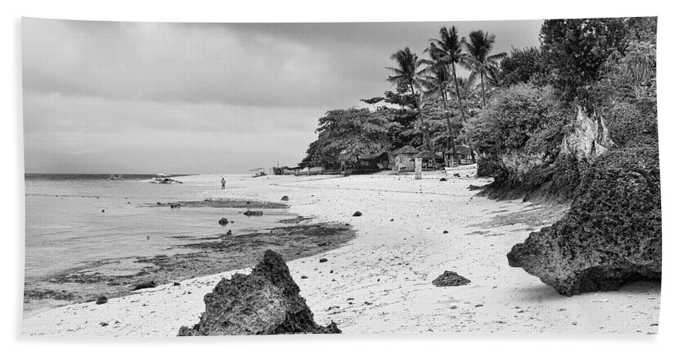 Tropical Beach Towel featuring the photograph White Sand Beach Moal Boel Philippines Bw by James BO Insogna