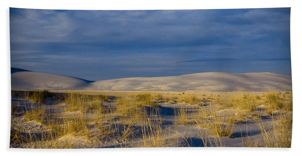 New Mexico Beach Towel featuring the photograph White Sands Golden Grass by Sean Wray