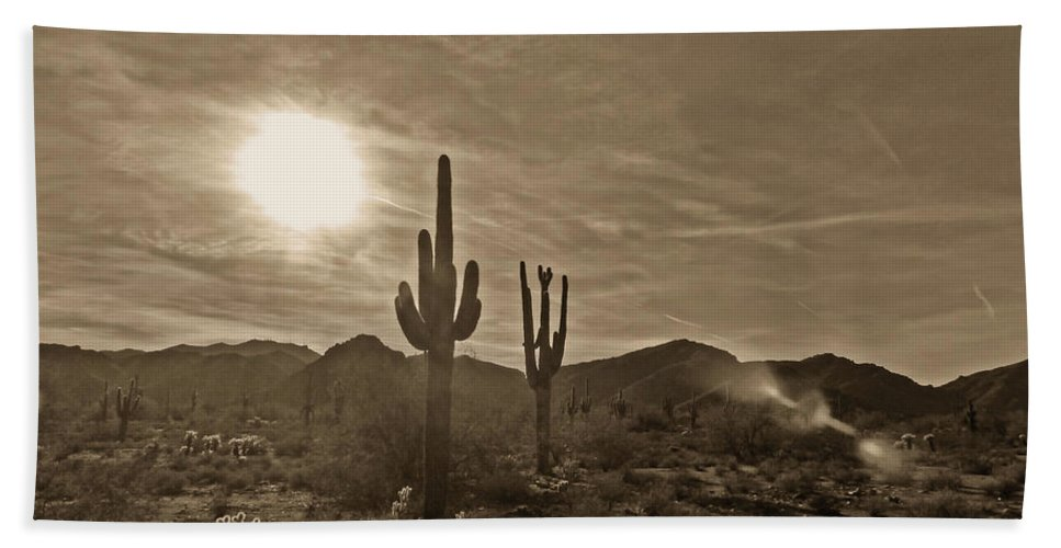 White Tank Sunset Beach Towel featuring the photograph White Tanks Sunset 2 Sepia by Methune Hively