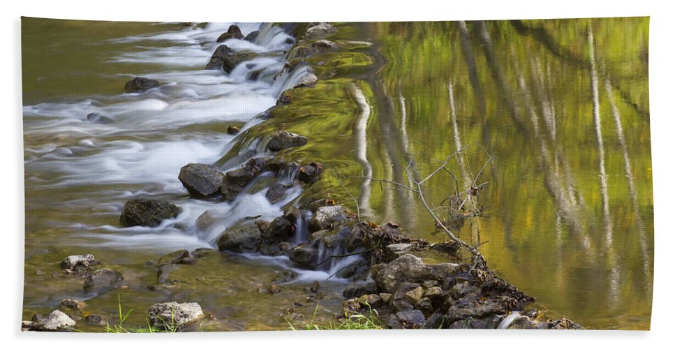 Rock Beach Towel featuring the photograph Whitewater River Rock Dam 1 A by John Brueske