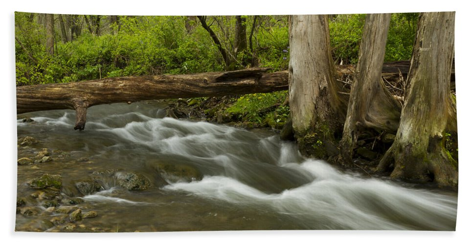 Whitewater Beach Towel featuring the photograph Whitewater River Spring 18 by John Brueske