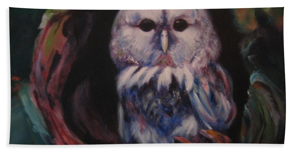 Owl Beach Towel featuring the painting Who's Lair by Jason Reinhardt