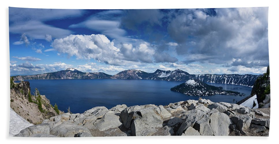 Crater Lake Beach Towel featuring the photograph Wide View Of Crater Lake by Greg Nyquist