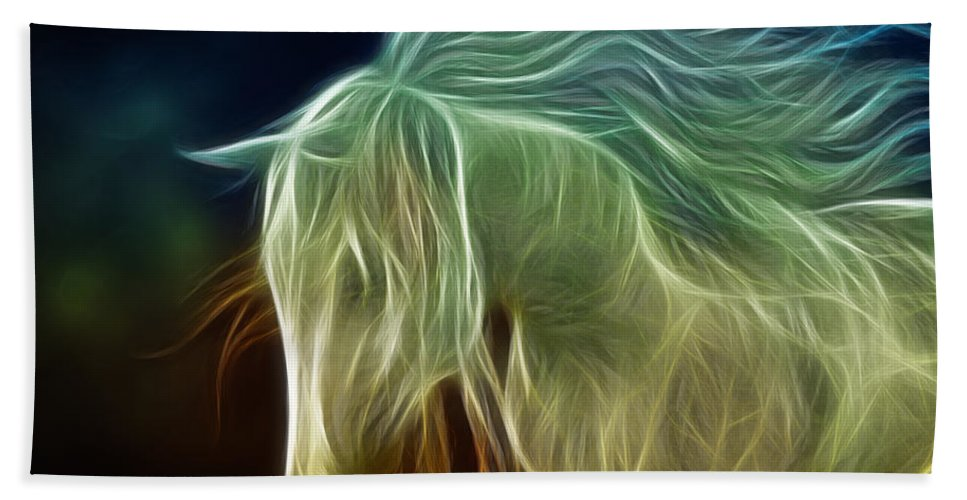 3d Beach Towel featuring the digital art Wild Horse by Jutta Maria Pusl