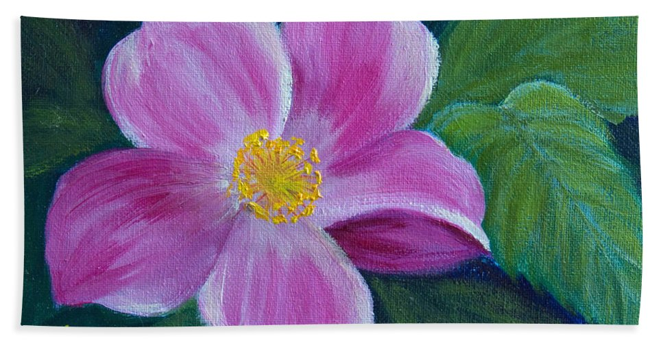Wild Rose Beach Towel featuring the painting Wild Rose Study 6 by Dee Carpenter