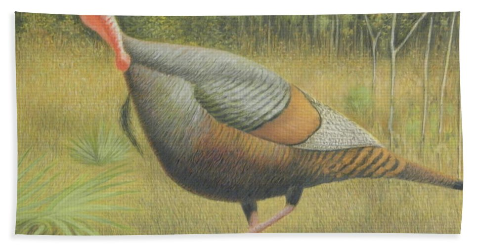 Wildlife Beach Towel featuring the painting Wild Turkey by Alan Suliber