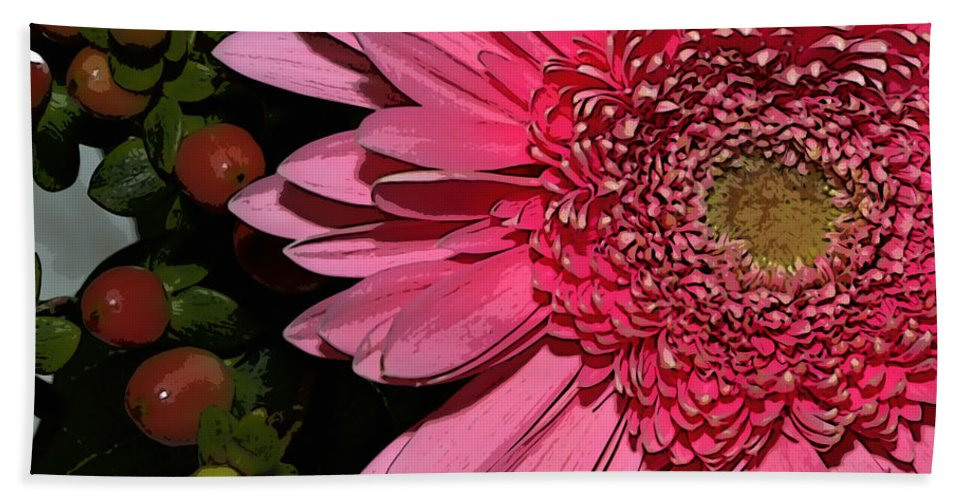 Flower Beach Towel featuring the photograph Wildly Pink Mum by Phyllis Denton