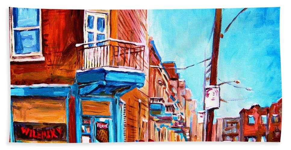 Cityscape Beach Sheet featuring the painting Wilensky Corner by Carole Spandau
