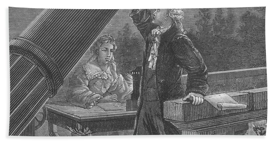 Science Beach Towel featuring the photograph William And Caroline Herschel, German by Science Source