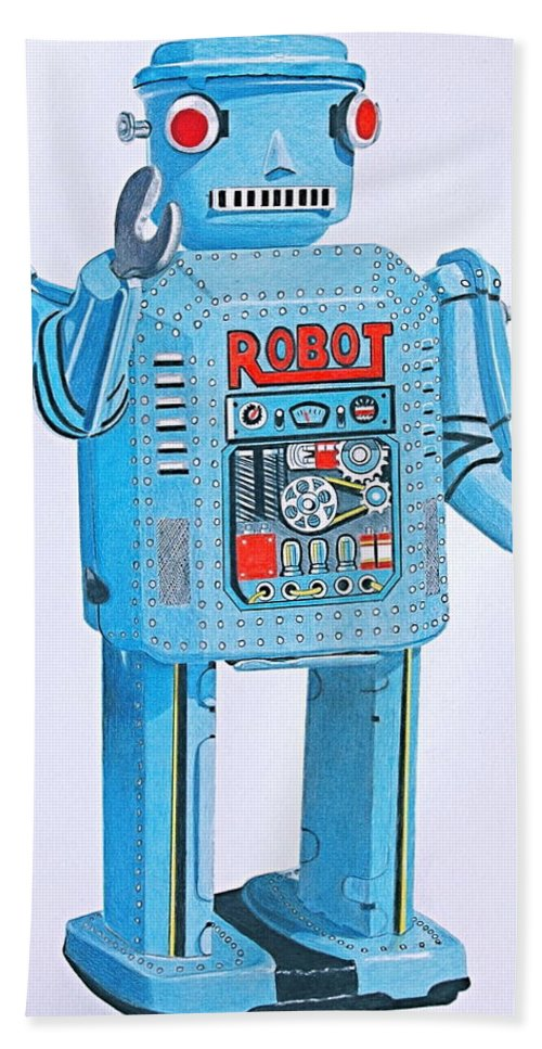 Robot Beach Towel featuring the drawing Wind-up Robot by Glenda Zuckerman