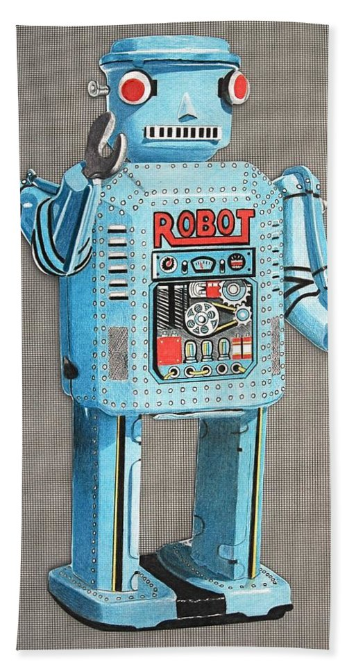 Robot Drawings Beach Towel featuring the drawing Wind-up Robot 2 by Glenda Zuckerman