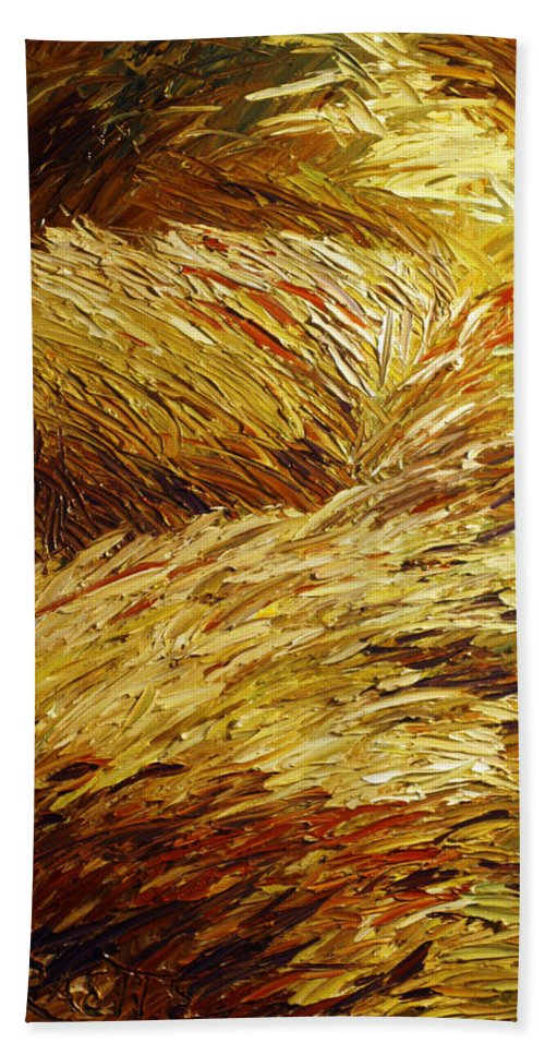 Landscape Beach Towel featuring the painting Windblown Grass by Raette Meredith