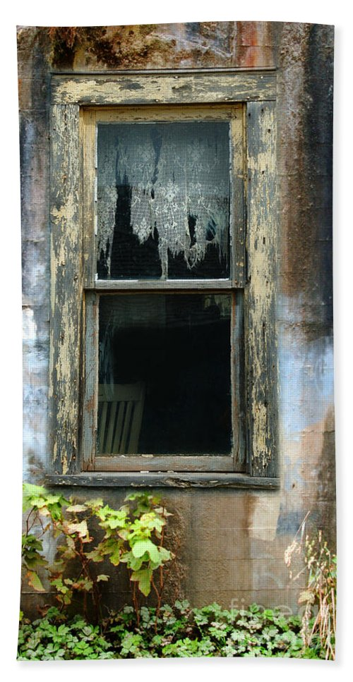 Window In Old Wall Beach Towel featuring the photograph Window In Old Wall by Jill Battaglia