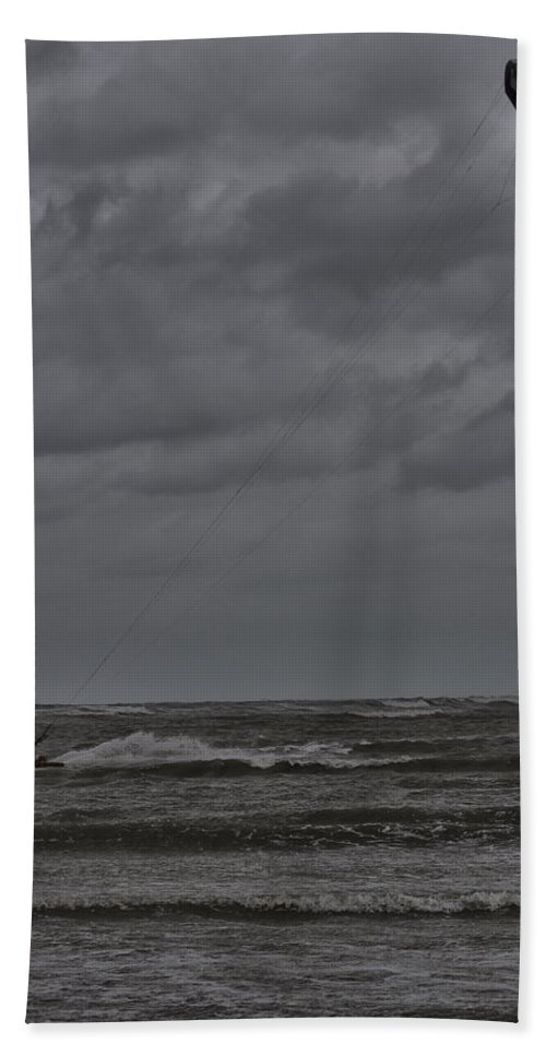 Kite Surfer Beach Towel featuring the photograph Windpower by Douglas Barnard
