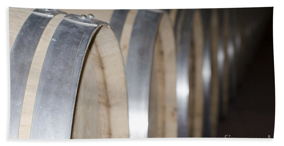 Wine Barrel Beach Towel featuring the photograph Wine Barrels by Mats Silvan