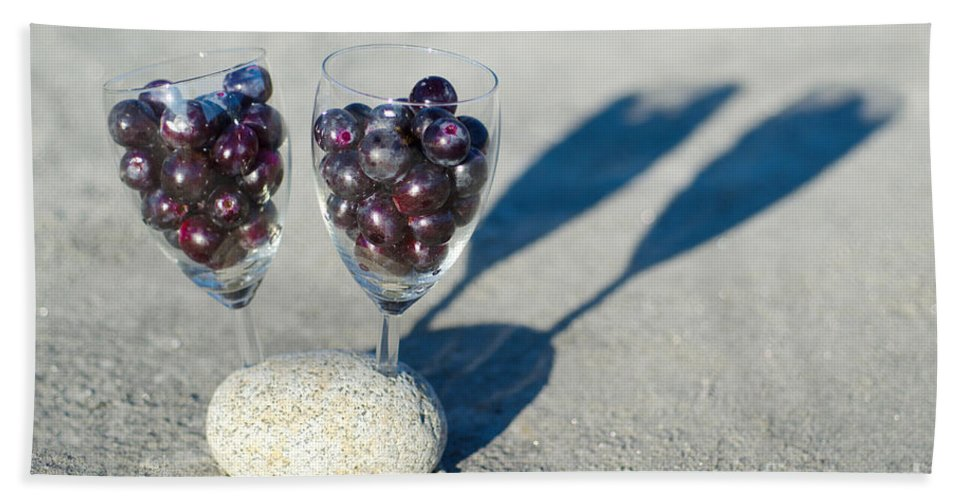 Grapes Beach Towel featuring the photograph Wine Glass With Grapes by Mats Silvan