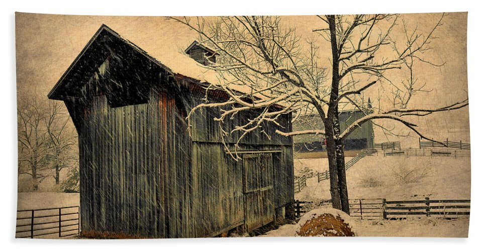 Winter Beach Towel featuring the photograph Winter Barn by Todd Hostetter