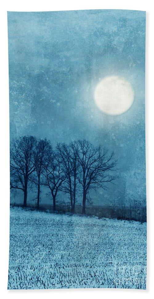 Moon Beach Towel featuring the photograph Winter Moon Over Farm Field by Jill Battaglia