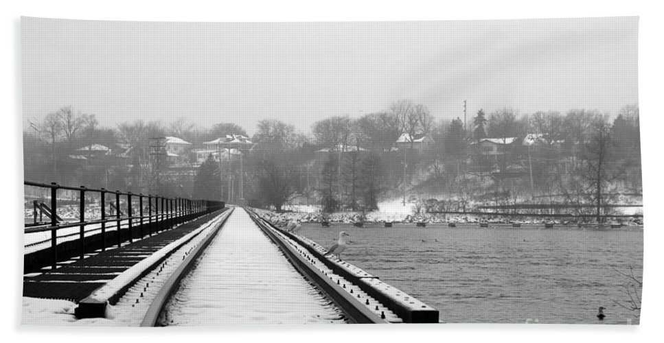 Winter Beach Towel featuring the photograph Winter Rails by Joel Witmeyer