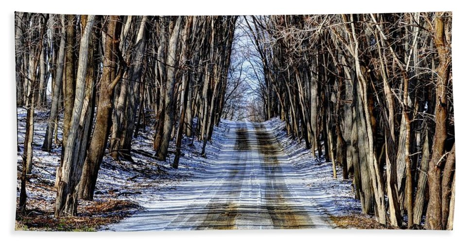 Road Beach Towel featuring the photograph Winter Road by Rodney Campbell