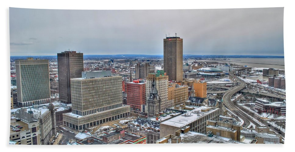 Beach Towel featuring the photograph Winter Scene Downtown Buffalo by Michael Frank Jr