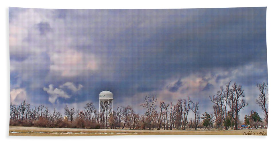 Nature Beach Towel featuring the photograph Winter Water Tower Sky by Debbie Portwood