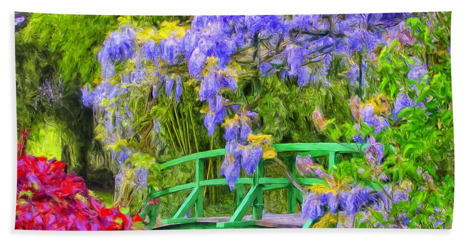 Wisteria Beach Towel featuring the painting Wisteria And Japanese Bridge by Dominic Piperata
