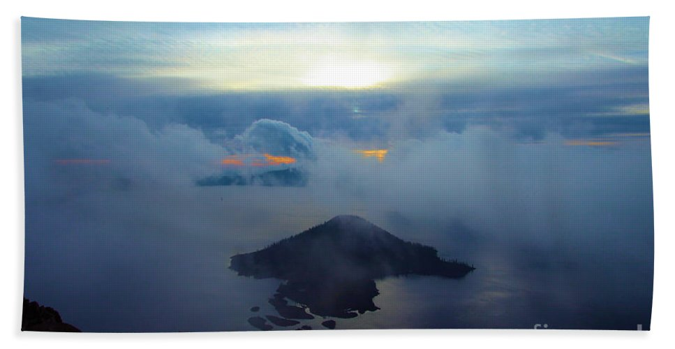 Crater Lake National Park Beach Towel featuring the photograph Wizard Island At Crater Lake by Adam Jewell