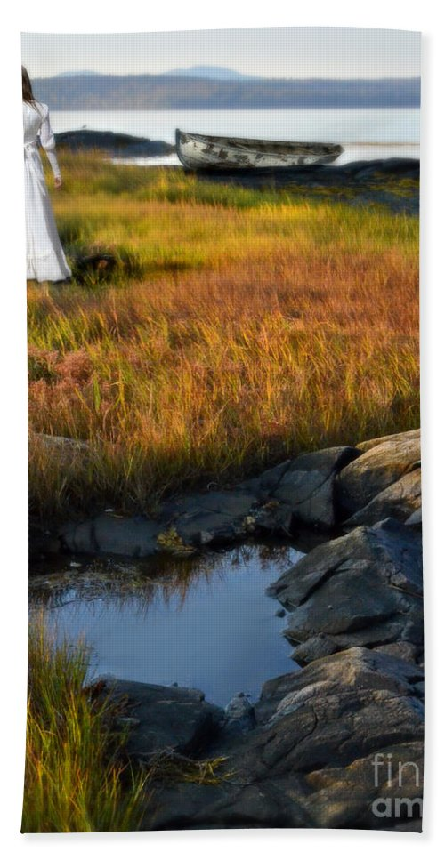 Woman Beach Towel featuring the photograph Woman By Boat On Grassy Shore by Jill Battaglia