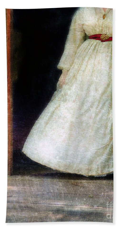 Woman Beach Towel featuring the photograph Woman In Vintage Victorian Era Dress In Doorway by Jill Battaglia