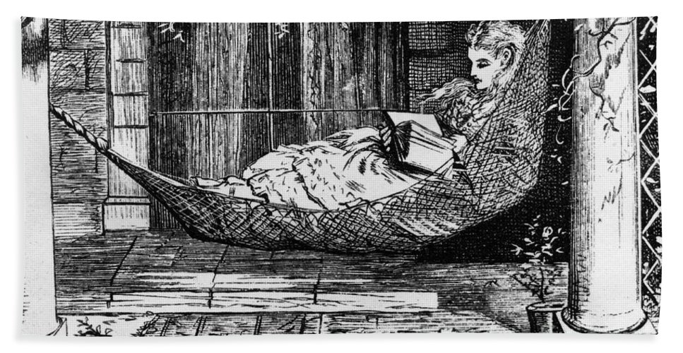 1873 Beach Towel featuring the photograph Woman Reading, C1873 by Granger