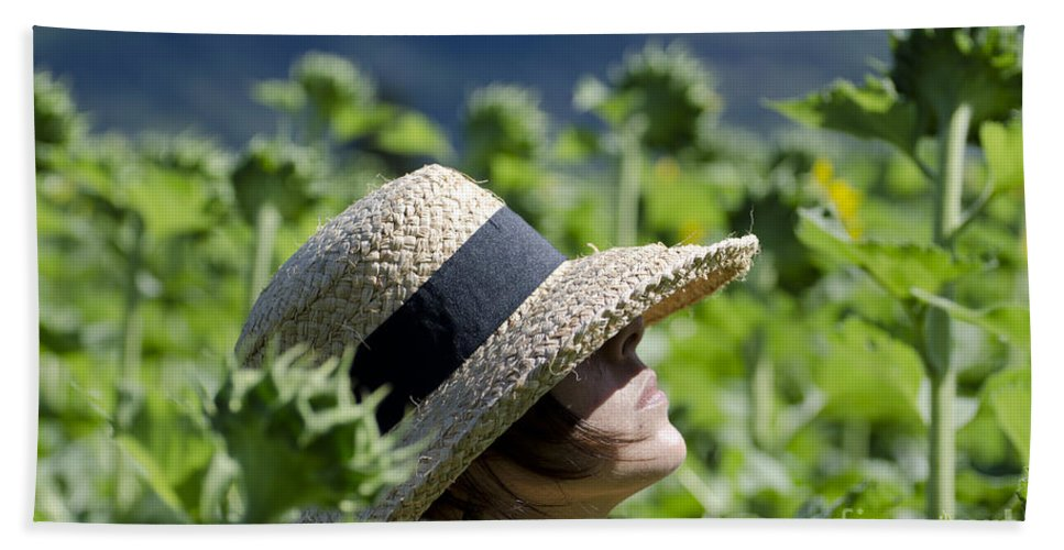 Woman Beach Towel featuring the photograph Woman With Straw Hat by Mats Silvan