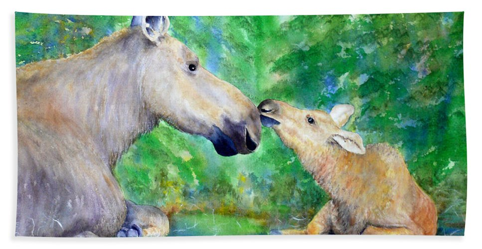 Moose Beach Towel featuring the painting Words Of Love by Dee Carpenter