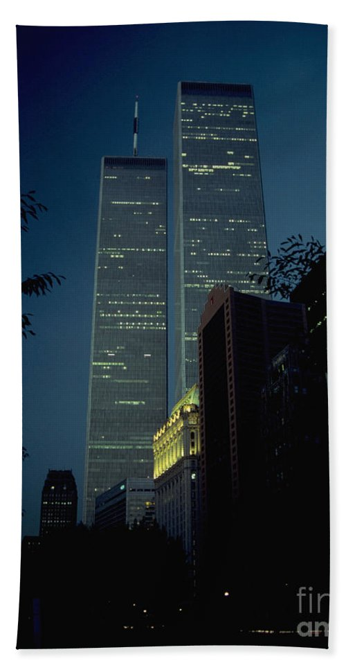 Wtc Beach Towel featuring the photograph World Trade Center At Dusk by Mark Gilman