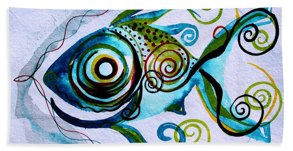 Paintings Beach Towel featuring the painting Wtfish 006 by J Vincent Scarpace