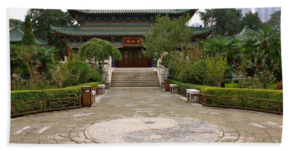 China Beach Towel featuring the photograph Xi'an Temple Garden by Carol Groenen