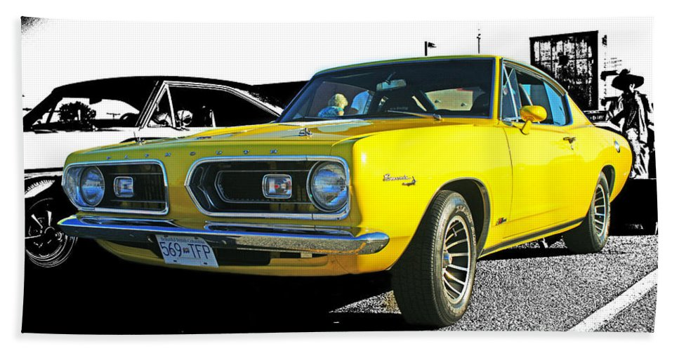Cars Beach Towel featuring the photograph Yellow Barracuda by Randy Harris