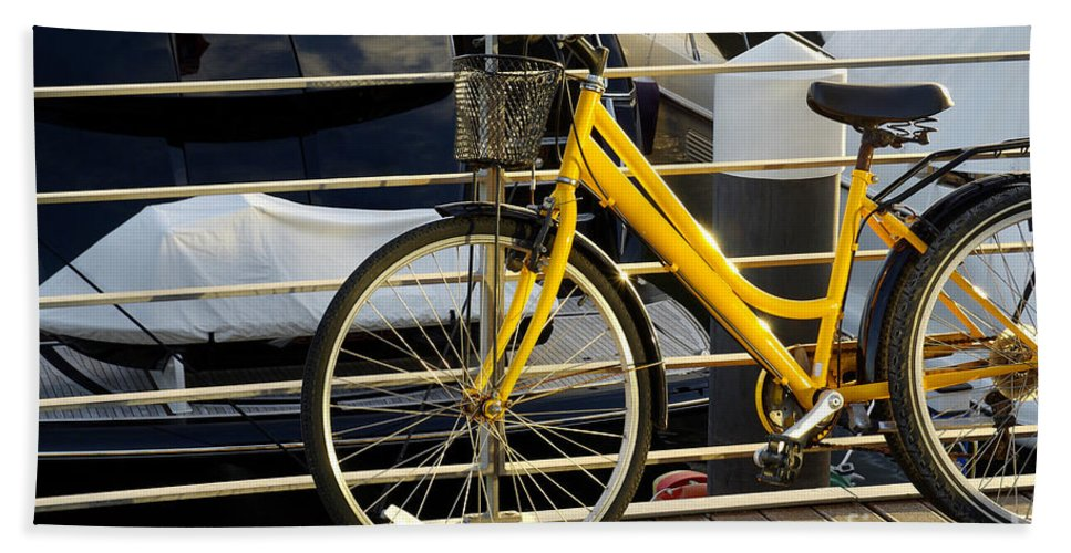 Activity Beach Towel featuring the photograph Yellow Bicycle by Carlos Caetano