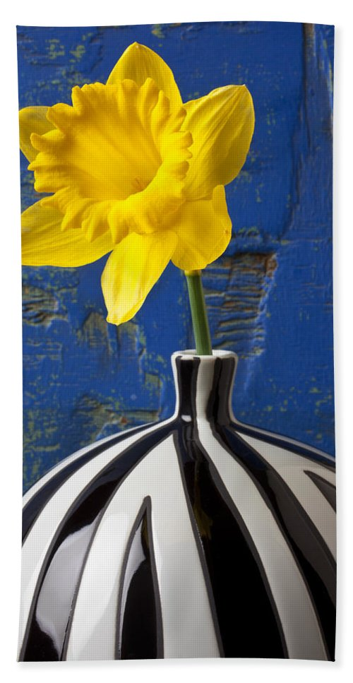 Yellow Beach Towel featuring the photograph Yellow Daffodil In Striped Vase by Garry Gay