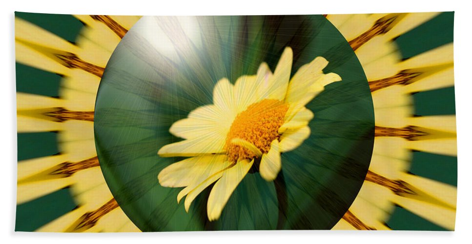 Flower Beach Towel featuring the digital art Yellow Daisy Energy by Smilin Eyes Treasures