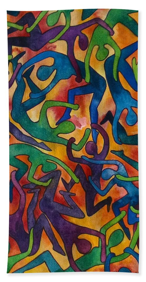 Figures Color Modern Psychedelic Watercolor Beach Towel featuring the painting Yellow Dance by Jen Coffey