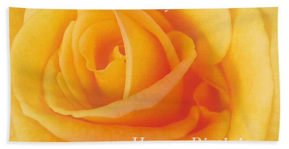 Yellow Rose Birthday Card Beach Towel For Sale By Michael Peychich