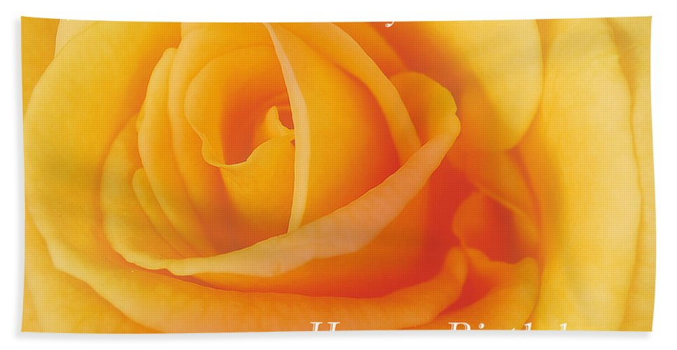 Happy Beach Towel featuring the photograph Yellow Rose Birthday Card by Michael Peychich