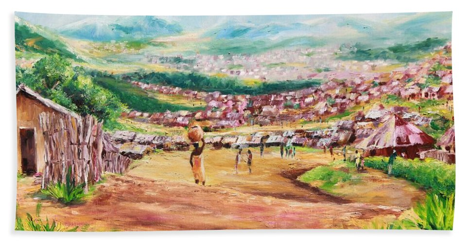 Village Scene Beach Towel featuring the painting Yesteryears by Uly Ogwah