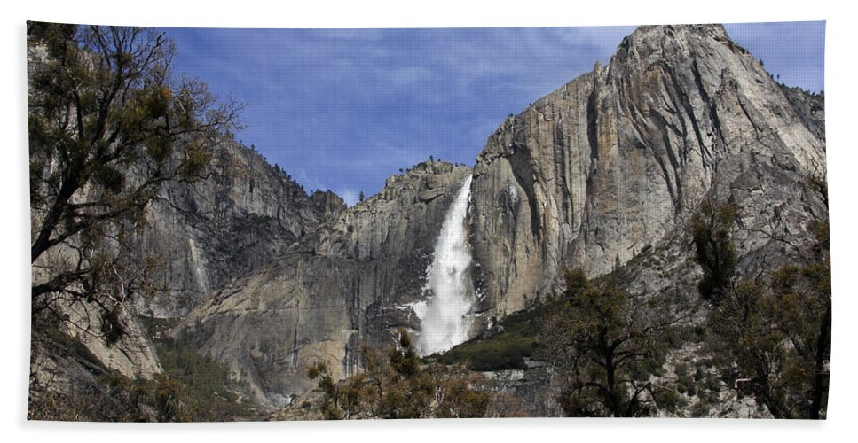 Yosemite Water Fall Beach Towel featuring the photograph Yosemite Water Fall by Wes and Dotty Weber