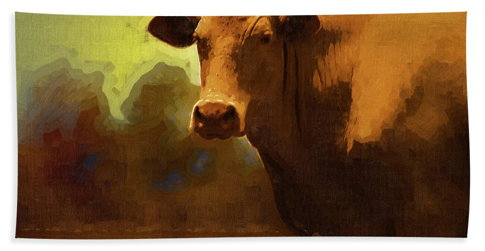 Cow Beach Towel featuring the photograph You Can Not Cow Me by Kathy Clark