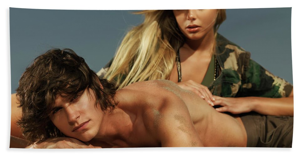 Couple Beach Towel featuring the photograph Young Beautiful Couple At The Beach by Oleksiy Maksymenko