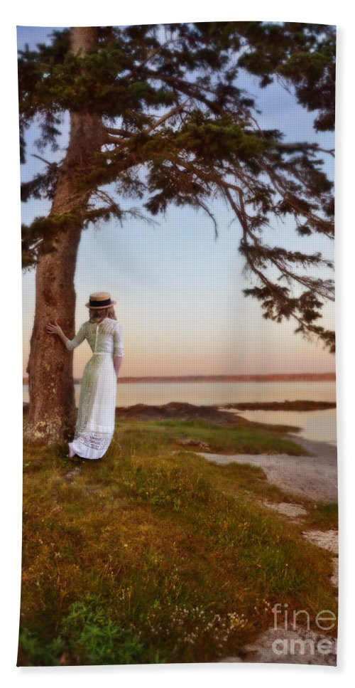 Lady Beach Towel featuring the photograph Young Lady In Edwardian Clothing By The Sea by Jill Battaglia