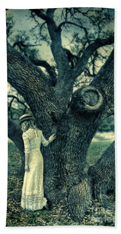 Woman Beach Towel featuring the photograph Young Lady In White By Tree by Jill Battaglia